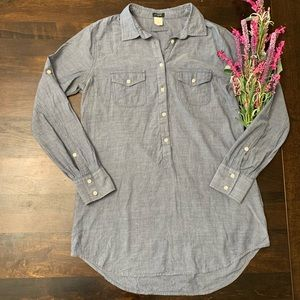 J. Crew Chambray Tunic Top Button Shirt S